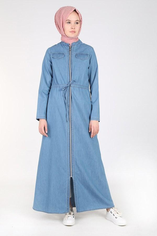 Önü Boydan Fermuarlı Kot Elbise Ferace 17626-1