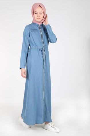 Önü Boydan Fermuarlı Kot Elbise Ferace 17626-1 - Thumbnail
