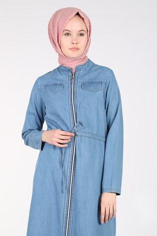 - Önü Boydan Fermuarlı Kot Elbise Ferace 17626-1 (1)