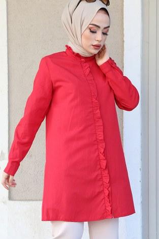 - Önü Boydan Fırfırlı Gömlek 8734-3 Kırmızı (1)