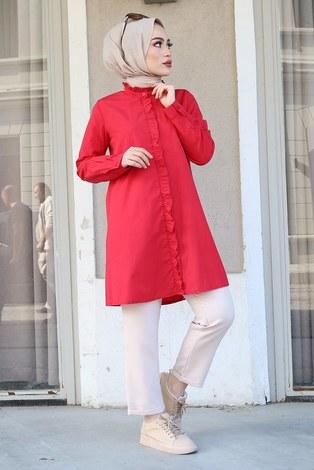 - Önü Boydan Fırfırlı Gömlek 8734-3 Kırmızı