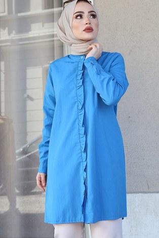 - Önü Boydan Fırfırlı Gömlek 8734-5 İndigo (1)