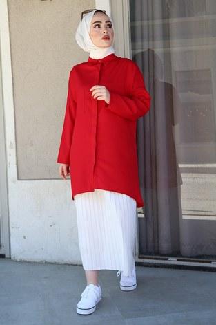 - Önü Boydan Gizli Düğmeli Tunik 2148-1 Kırmızı (1)