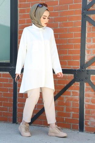 - Önü Boydan Gizli Düğmeli Tunik 2148-2 Beyaz