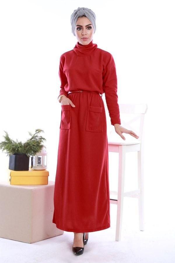 - Önü cepli beli kemerli Selanlik Örme Elbise 6356-02