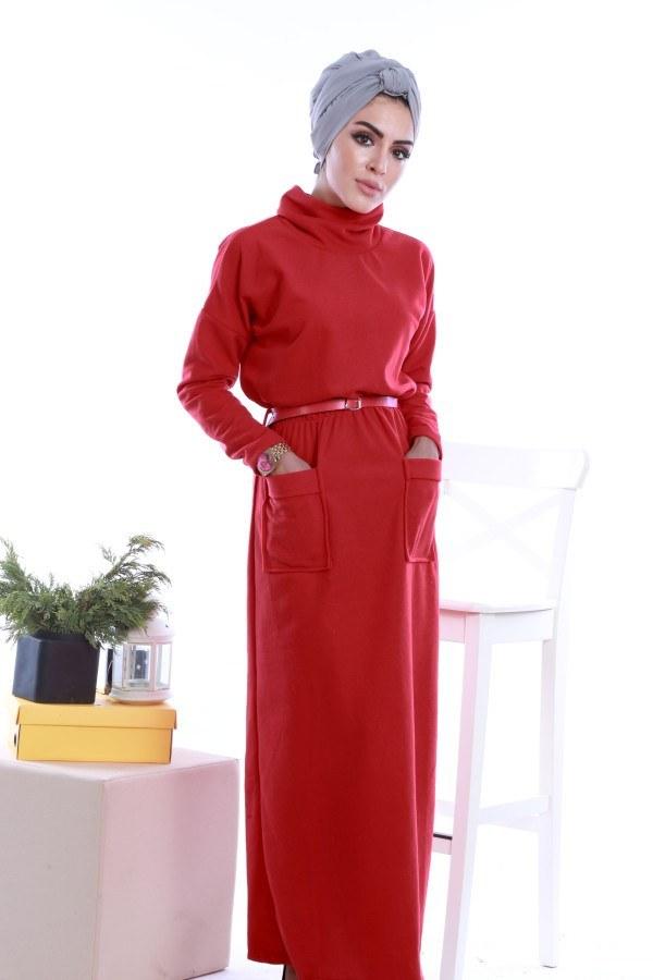 - Önü cepli beli kemerli Selanlik Örme Elbise 6356-02 (1)
