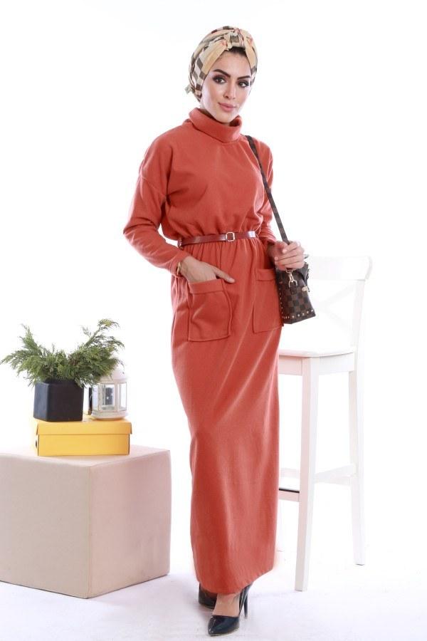 - Önü cepli beli kemerli Selanlik Örme Elbise 6356-03