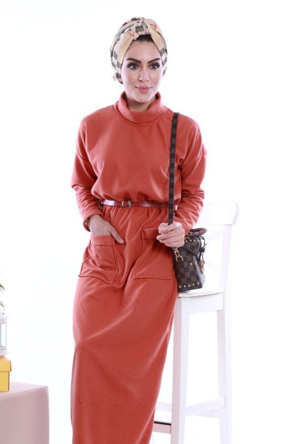 - Önü cepli beli kemerli Selanlik Örme Elbise 6356-03 (1)