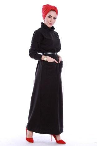 - Önü cepli beli kemerli Selanlik Örme Elbise 6356-07