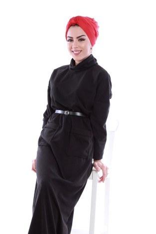 - Önü cepli beli kemerli Selanlik Örme Elbise 6356-07 (1)