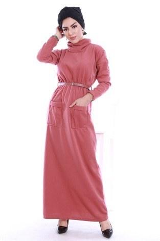 - Önü cepli beli kemerli Selanlik Örme Elbise 6356-05