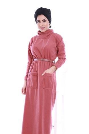 - Önü cepli beli kemerli Selanlik Örme Elbise 6356-05 (1)