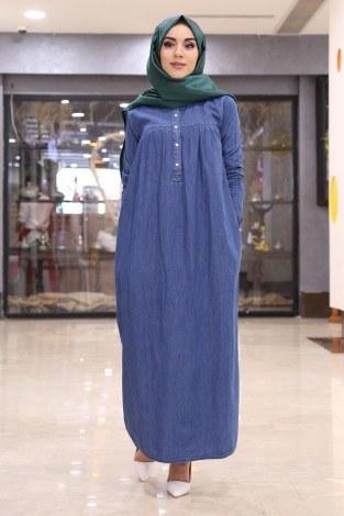 - Önü Düğmeli Kolları Lastikli Cepli Kot Elbise 4914-1 (1)