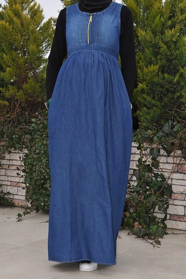 Önü Fermuarlı Hamile Koyu Kot Elbise 8941-2