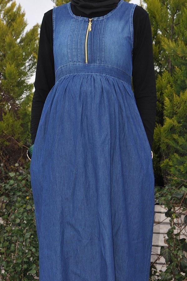 - Önü Fermuarlı Hamile Koyu Kot Elbise 8941-2 (1)