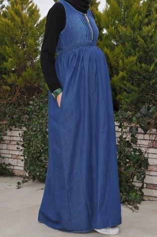 Önü Fermuarlı Hamile Koyu Kot Elbise 8941-2 - Thumbnail