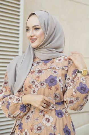 Önü Fırfır Detaylı Şifon Elbise Camel - Thumbnail