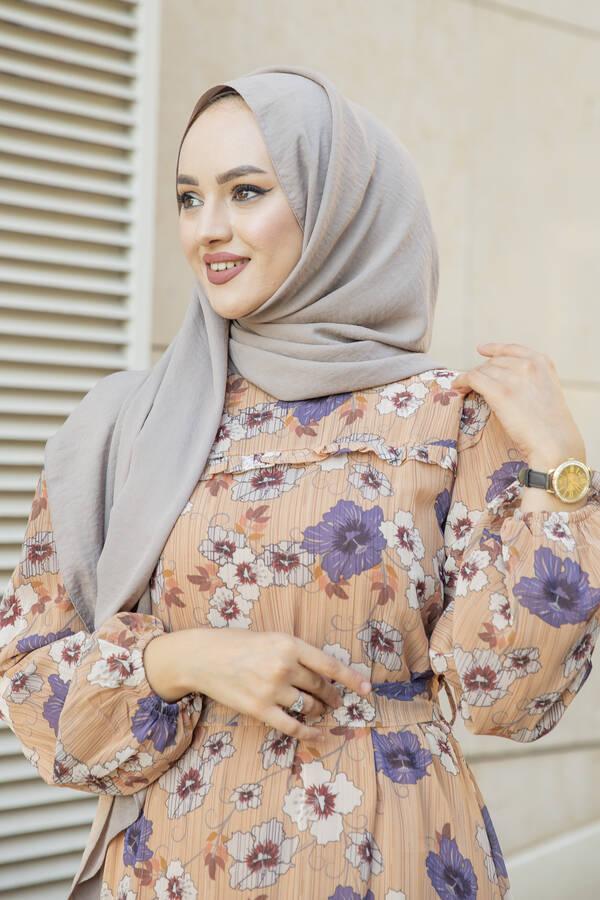 Önü Fırfır Detaylı Şifon Elbise Camel