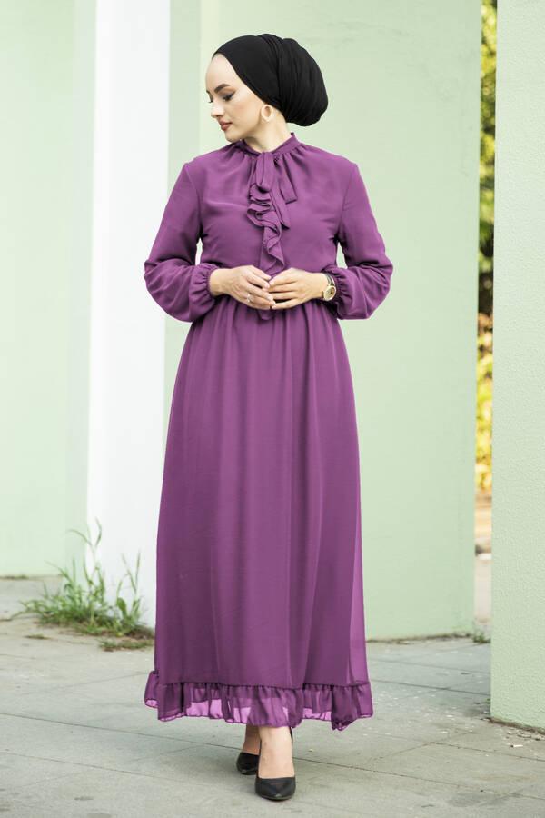 Önü Fırfır Detaylı Şifon Elbise Gülkurusu
