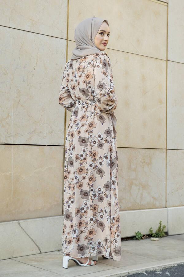 Önü Fırfır Detaylı Şifon Elbise Krem