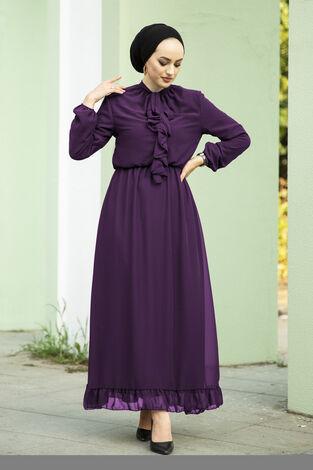 Önü Fırfır Detaylı Şifon Elbise Mor - Thumbnail