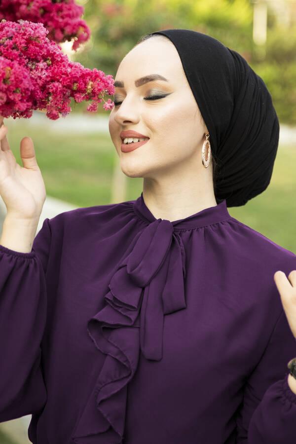 Önü Fırfır Detaylı Şifon Elbise Mor
