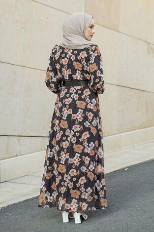 Önü Fırfır Detaylı Şifon Elbise Siyah - Thumbnail