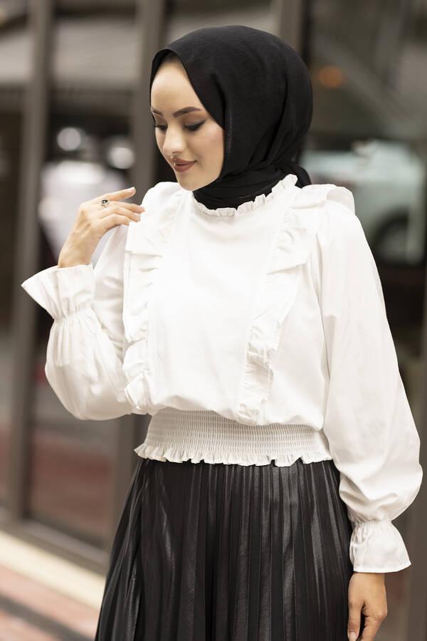 Önü Fırfırlı Bluz 100MD-10447 Beyaz