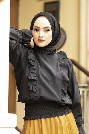 Önü Fırfırlı Bluz 100MD-10447 Siyah - Thumbnail