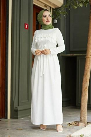 - Önü Fırfırlı Elbise 1359-1 Beyaz