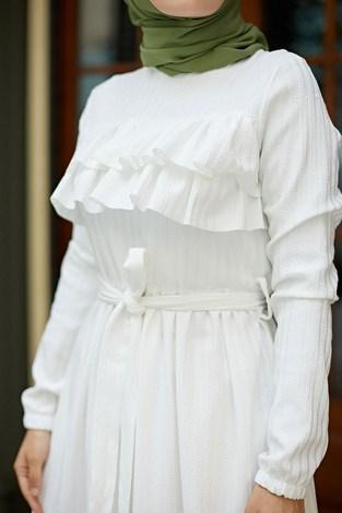 - Önü Fırfırlı Elbise 1359-1 Beyaz (1)