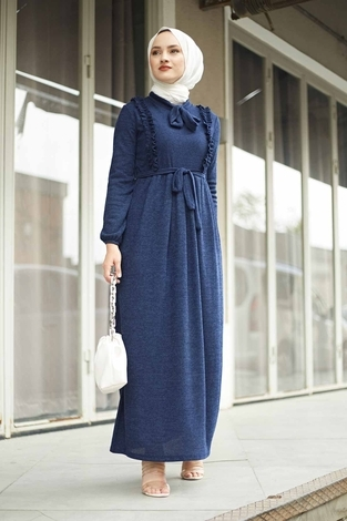 Önü Fırfırlı Kaşkorse Elbise 120NY2002 Lacivert - Thumbnail