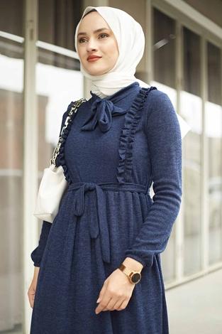 NEVA MODA - Önü Fırfırlı Kaşkorse Elbise 120NY2002 Lacivert (1)