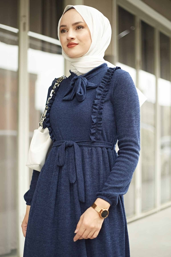Önü Fırfırlı Kaşkorse Elbise 120NY2002 Lacivert