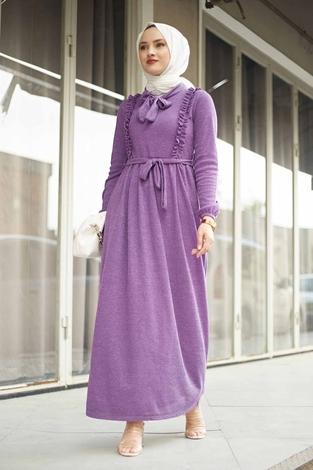 NEVA MODA - Önü Fırfırlı Kaşkorse Elbise 120NY2002 Lila