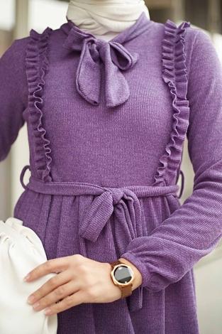 NEVA MODA - Önü Fırfırlı Kaşkorse Elbise 120NY2002 Lila (1)
