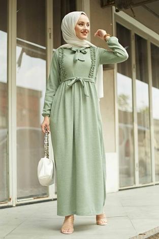 NEVA MODA - Önü Fırfırlı Kaşkorse Elbise 120NY2002 Mint