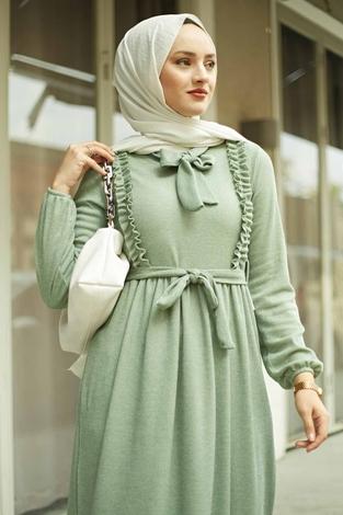 NEVA MODA - Önü Fırfırlı Kaşkorse Elbise 120NY2002 Mint (1)