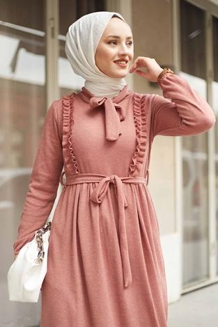 Önü Fırfırlı Kaşkorse Elbise 120NY2002 Pudra - Thumbnail