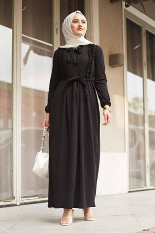 NEVA MODA - Önü Fırfırlı Kaşkorse Elbise 120NY2002 Siyah