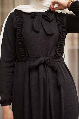 NEVA MODA - Önü Fırfırlı Kaşkorse Elbise 120NY2002 Siyah (1)