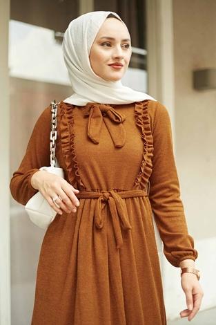 Önü Fırfırlı Kaşkorse Elbise 120NY2002 Taba - Thumbnail