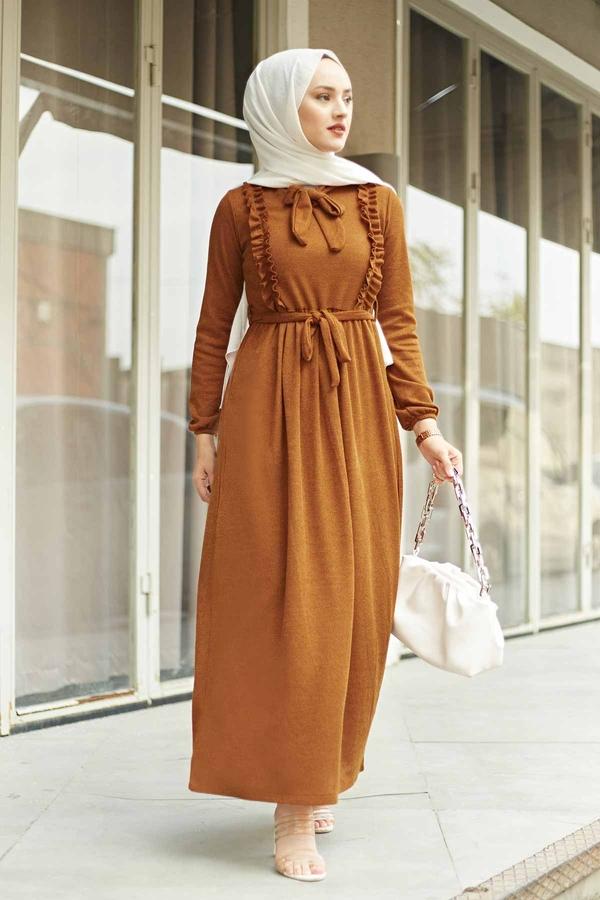 Önü Fırfırlı Kaşkorse Elbise 120NY2002 Taba