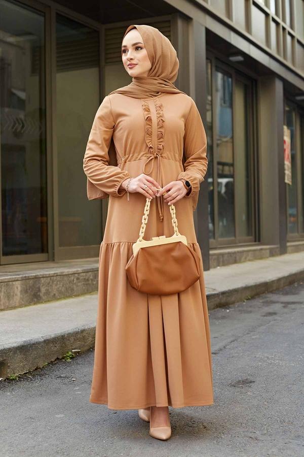 Önü Fırfırlı Tünel Kemerli Elbise 565EN-7542 Camel