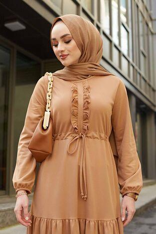 Önü Fırfırlı Tünel Kemerli Elbise 565EN-7542 Camel - Thumbnail