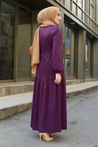 Önü Fırfırlı Tünel Kemerli Elbise 565EN-7542 Mor - Thumbnail
