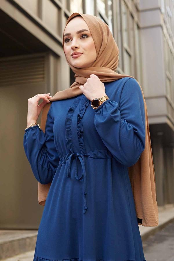 Önü Fırfırlı Tünel Kemerli Elbise 565EN-7542 Parlament Mavisi