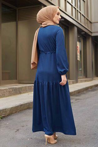 Önü Fırfırlı Tünel Kemerli Elbise 565EN-7542 Parlament Mavisi - Thumbnail
