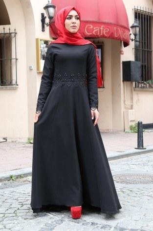 - Önü Kısa Arkası Uzun Dantelli İncili Abiye Elbise 151535-3