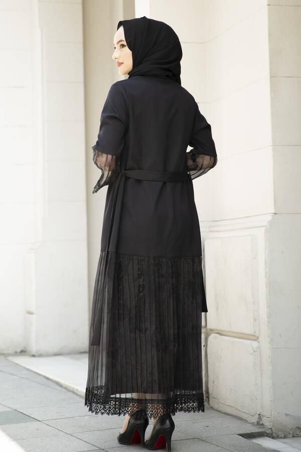 Organze Detaylı Abaya Siyah